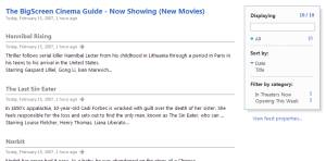 "Screenshot of RSS Reader Viewing ""New Movies"" Feed"