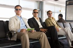 MATT DAMON stars as Linus Caldwell, GEORGE CLOONEY stars as Danny Ocean and BRAD PITT stars as Rusty Ryan in Ocean's Thirteen. Photo by Melinda Sue Gordon. Copyright 2007 Warner Bros. Entertainment Inc.