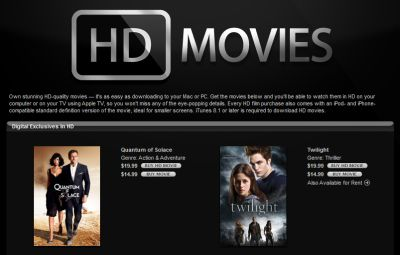 Screenshot of iTunes Store's HD page