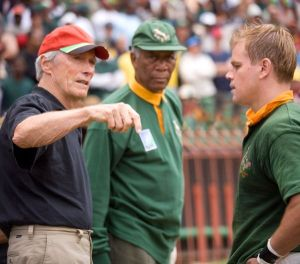 Clint Eastwood, Morgan Freeman, and Matt Damon on the set of Invictus