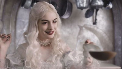 Anne Hathaway as the White Queen in Alice in the Wonderland.