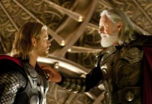 Chris Hemsworth as Thor and Anthony Hopkins as Odin in Thor