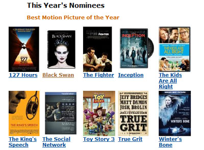 screenshot of Amazon's Oscar Central store