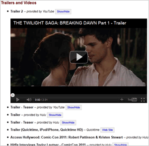 Screenshot from the Trailers & Videos page for The Twilight Saga: Breaking Dawn - Part 1