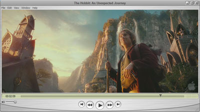 The Hobbit Trailer playing in a Quicktime Player window