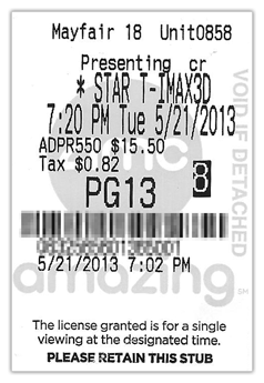 Movie listings and ticket prices