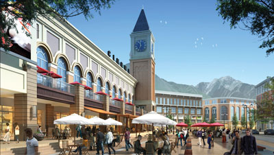 Rendering of the Clock Tower in the Cottonwood development