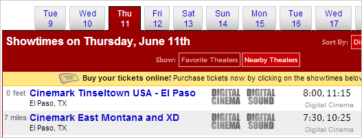 Example of showtimes display