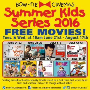 Carmike Hickory Nc >> Free Movies at Bow Tie Cinemas During Summer Kids Series 2016 - The BigScreen Cinema Guide