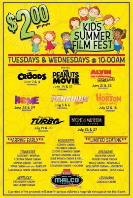 2 movies at malco theatres kids summer film fest
