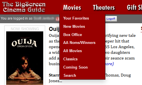 Screen capture of our new navigation layout