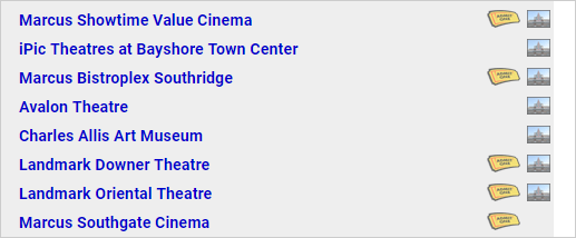 Screenshot of theater listing with photo icons