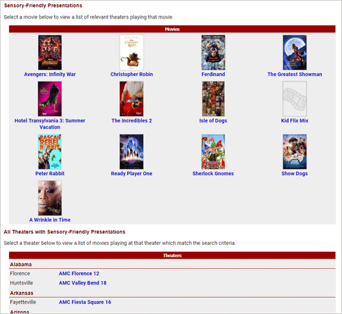 Screenshot of the advanced search tool for Sensory-Friendly Showtimes